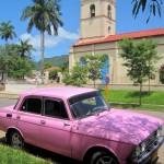 Pink car and church